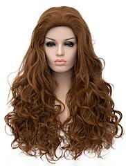 špičková kvalita dlouhá délka hnědé barvy kudrnaté vlasy evropský vazba syntetická paruka