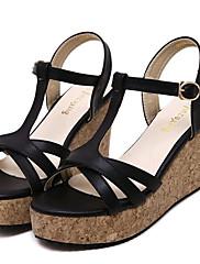 Ženske cipele-Sandale-Aktivnosti u prirodi / Ležerne prilike-Umjetna koža-Puna potpetica-Pune pete / Štikle-Crna / Ružičasta / Bijela