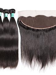 閉鎖が付いている毛横糸 インディアンヘア ストレート 18ヶ月 4個 ヘア織り