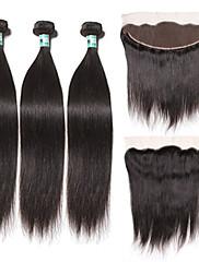閉鎖が付いている毛横糸 ペルービアンヘア ストレート 18ヶ月 4個 ヘア織り
