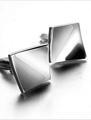 メンズファッション正方形の銀合金フレンチシャツカフス(1ペア)