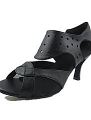 Obyčejné-Dámské-Taneční boty-Latina / Jazz-Koženka-Na zakázku-Černá