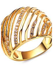 バンドリング キュービックジルコニア ファッション 円形 ゴールド ホワイト ジュエリー のために 結婚式 パーティー 日常 カジュアル 1個