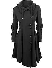 De las mujeres Simple / Chic de Calle Casual/Diario Un Color Abrigo,Cuello Camisero Manga Larga Invierno Algodón Negro Medio