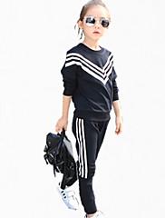 女の子の カジュアル/普段着 カラーブロック コットン,アンサンブル オールシーズン / 春 / 秋 ブラック / ホワイト
