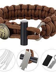 FURA SurvivalParachute Rope Bracelet with Flintstone / Knife - Black / Green / Orange / Camouflage / Khaki / Brown