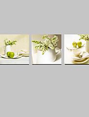 ハングアップする準備ができてキッチンのインテリアのための視覚star®3パネルの花が緑色静物画キャンバス壁の芸術