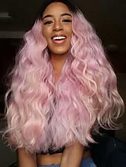 2016 nové přijedou módní vlna broskev vlasy syntetické krajky vpředu paruka žáruvzdorné růžový stín paruka tmavé kořeny