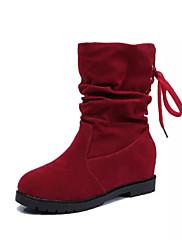 Boty-PU-Pohodlné-Dámské-Černá Žlutá Červená-Šaty Běžné-Plochá podrážka