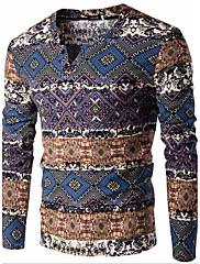 Muškarci Jednostavno Ležerno/za svaki dan Regularna Pullover,Plava / Narančasta Print V izrez Dugih rukava Pamuk / Lan Proljeće / Jesen