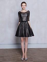 Koktejlové šaty - malé černé šaty a-line kopeček krátké / mini krajka s krajkou
