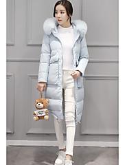 Dámské Standardní Dlouhý kabát Jednoduché Běžné/Denní Jednobarevné-Kabát Polyester Prachové kachní peří bílé Dlouhý rukáv Kapuce