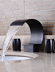 Separated Type Oil-rubbed Bronze Bathroom Luxury Waterfall Hot / Cold Faucet