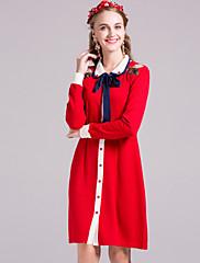 Žene Jednostavno Ležerno/za svaki dan Korice Haljina,Vez Dugih rukava Kragna košulje Iznad koljena Plava / Crvena Drugo JesenNormalan