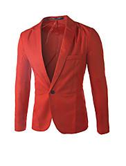 Hombre Simple Trabajo Fiesta/Cóctel Tallas Grandes Otoño Invierno Blazer,Escote en U Un Color Manga Larga AlgodónAzul Rosa Rojo Blanco