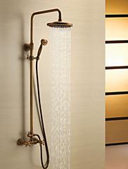 Starožitné Sprchový systém Dešťová sprcha / Včetne sprchové hlavice with  Keramický ventil Dvěma uchy tři otvory for  Starožitná mosaz ,