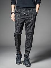 メンズ シンプル ストリートファッション 活発的 ミッドライズ ルーズ ハーレム マイクロエラスティック 活発的 チノパン パンツ 花柄 カモフラージュ