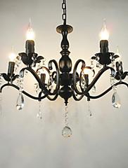 ac110  -  240リビングルームのシャンデリアシンプルなクリスタルの鉄のキャンドルライトリビングルームの装飾ランプの照明