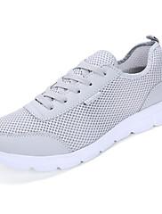 Unisex Sneakers Komfort Lysende såler Tyl PU Forår Efterår Afslappet Komfort Lysende såler Snøring Flad hæl Sort Lysegrå Marineblå Flad