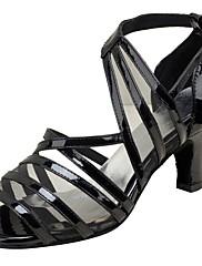 Damer Latin Ægte Læder Sandaler Optræden Spænde Cubanske hæle Sort 5 - 6,8 cm Kan tilpasses