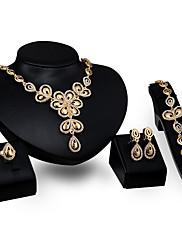 Dámské Náhrdelníky s přívěšky imitace drahokamu Módní Přizpůsobeno Štras Pozlacené Slitina Flower Shape Pro Párty Zásnuby Svatební dary