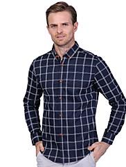Masculino Camisa Social Casual Tamanhos Grandes Simples Primavera Outono,Xadrez Algodão Colarinho de Camisa Manga Longa Média