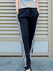Feminino Simples Moda de Rua Activo Cintura Média Micro-Elástica Chinos Calças,Solto Harém Sólido Listrado Estampado