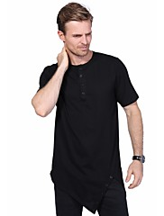 Masculino Camiseta Casual Tamanhos Grandes Moda de Rua Verão,Sólido Algodão Elastano Decote Redondo Manga Curta Média