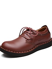 Masculino sapatos Pele Real Couro Pele Couro Ecológico Primavera Outono Conforto Sapatos formais Oxfords Cadarço Para Casual Castanho