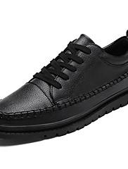 Masculino sapatos Couro Ecológico Primavera Outono Conforto Tênis Cadarço Para Casual Branco Preto