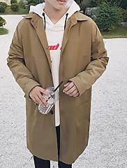 Masculino Casaco Longo Casual Simples Outono,Sólido Padrão Algodão Colarinho de Camisa Manga Longa