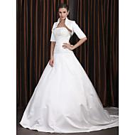 Lanting Bride A-line Petite / Plus Sizes Wedding Dress-Chapel Train Spaghetti Straps Satin