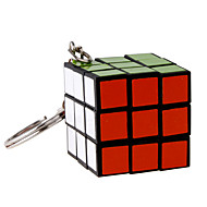 Magic Cube 3*3*3 With Keychain Smooth Speed Cube Black Plastic Toys