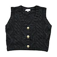suéter botões v-pescoço de metal colete mulheres (1002al0