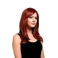 Capless Long High Quality Synthetic Natural Look Red Wine Straight Hair Wig