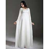 Lanting Bride Sheath/Column Maternity Wedding Dress-Floor-length Square Chiffon / Satin