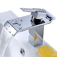 Brass Waterfall Bathroom Sink Faucet with Stainless Steel Spout