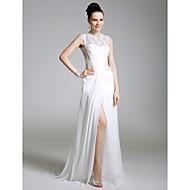TS Couture Evento Formal Vestido - Fendas Estilo Celebridade Tubinho Decorado com Bijuteria Cauda Escova Chiffon Renda comRenda Fenda