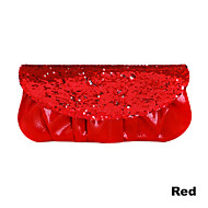 Women Satin Minaudiere Tote / Clutch / Evening Bag - Red / Black