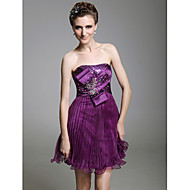 A-line Sweetheart Short/Mini Sleeveless Stretch Satin Tulle Cocktail/Prom Dress