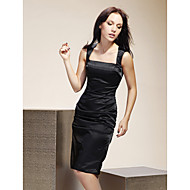 Lanting Knee-length Stretch Satin Bridesmaid Dress - Black Plus Sizes / Petite Sheath/Column Square