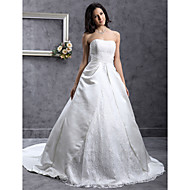 LAN TING BRIDE A-line Princess Wedding Dress - Classic & Timeless Elegant & Luxurious Lacy Look Chapel Train Strapless SweetheartLace