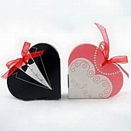 턱시도 및 organza 리본 가운 심장 모양의 유리 상자 (12 세트)