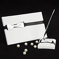 Black & White Wedding Guest Book And Pen Set With Ribbon Bow