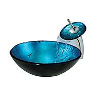 évier rond bleu récipient en verre trempé avec robinet cascade (0888-c-blée-6438-wf)