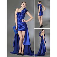 Prom / Formal Evening Dress - Royal Blue Plus Sizes / Petite Sheath/Column One Shoulder Court Train Chiffon / Stretch Satin