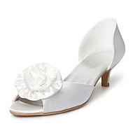 Satin Upper Kitten Heel  Peep Toe With Satin Flower Wedding Bridal Shoes