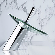 Single Handle Chrome Centerset Waterfall Bathroom Sink Faucet
