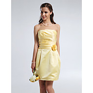Short / Mini Satin Bridesmaid Dress Sheath / Column Strapless Plus Size / Petite with Draping / Flower(s) / Ruching
