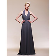 TS Couture® Formal Evening / Wedding Party Dress - Open Back Plus Size / Petite Sheath / Column V-neck Floor-length Chiffon with Draping / Ruching
